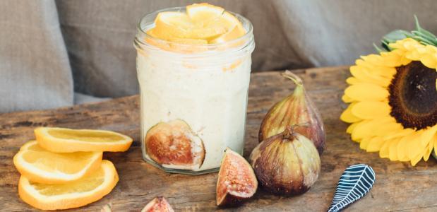 Sinaasappel Bircher muesli met vijg - Lisa Goes Vegan